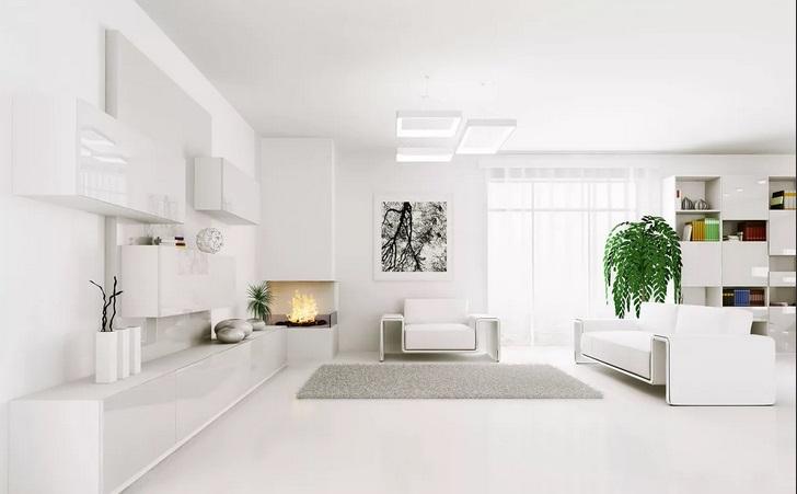 Белый фон в гостиной