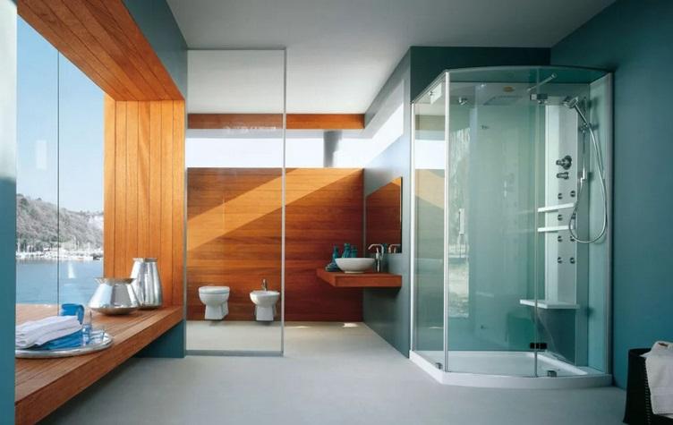 большая ванная с душевой кабиной