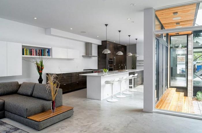 дизайн-проект кухни-гостиной в частном доме