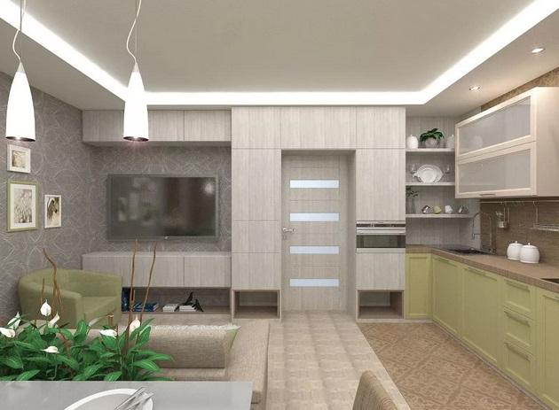 дизайн-проект кухни-гостиной в новостройке