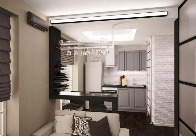 дизайн-проект кухни-гостинойв хрущевке