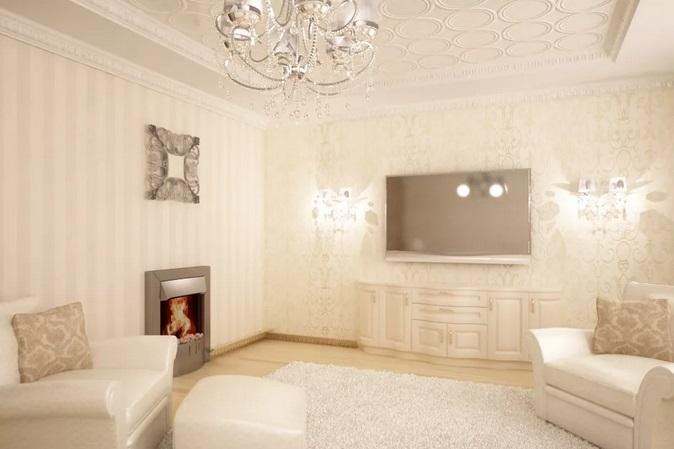 комбинирование светлых обоев в гостиной