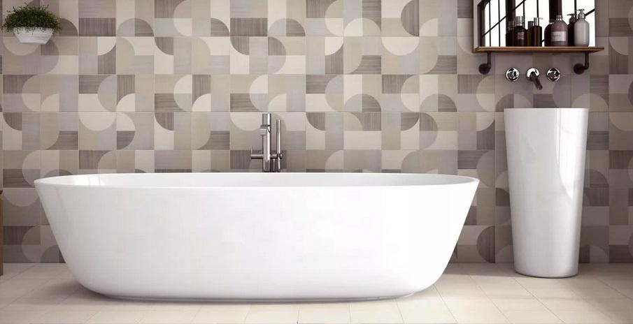 плитка с геометрическим объемным рисунком для ванной
