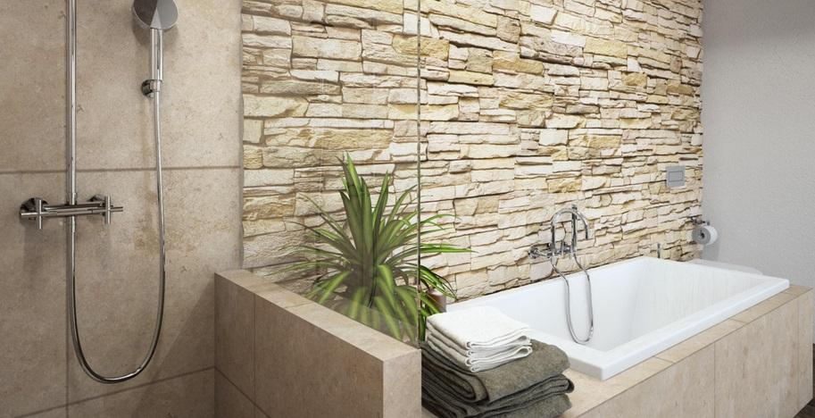природный камень с бетоном и дерево в ванной