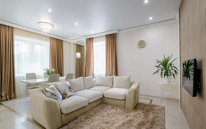 ремонт гостиной в светлом стиле