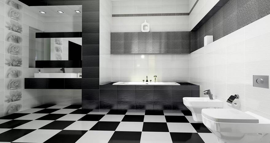 ванная в шахматном стиле