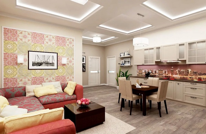 Зонирование гостиной и кухни обоями
