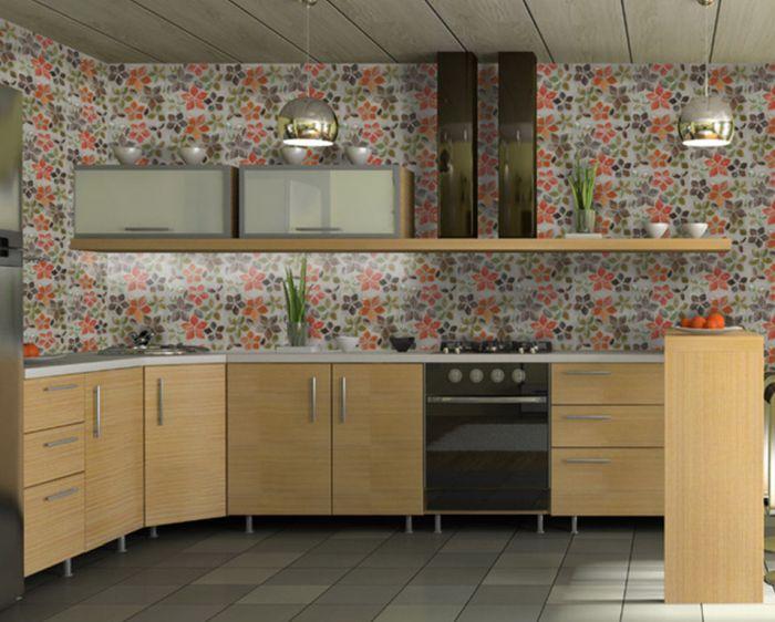 панели на стену вместо обоев на кухне
